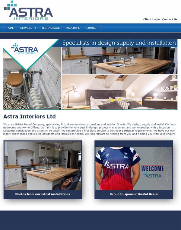 Astra Interiors Ltd Website Design