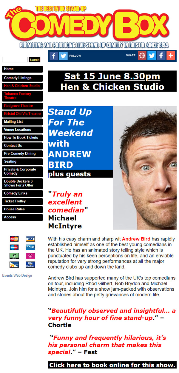 Comedy Club Ticket Selling Website Design & Build