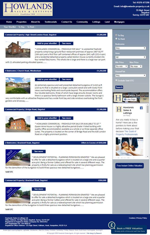 Howlands Estate Agents Web Design