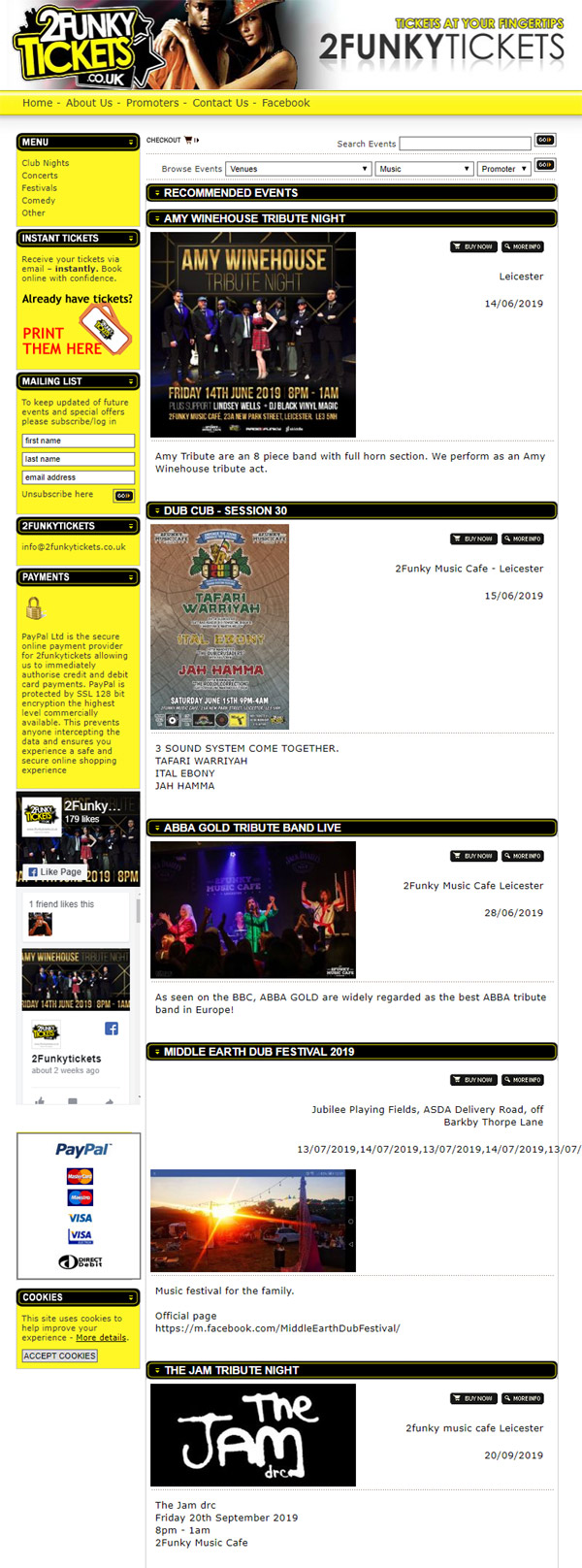Ticket Portal Web Design for 2funky Tickets